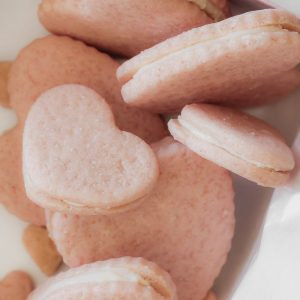 Heart Shaped Sandwich Cookies in a pink gift box