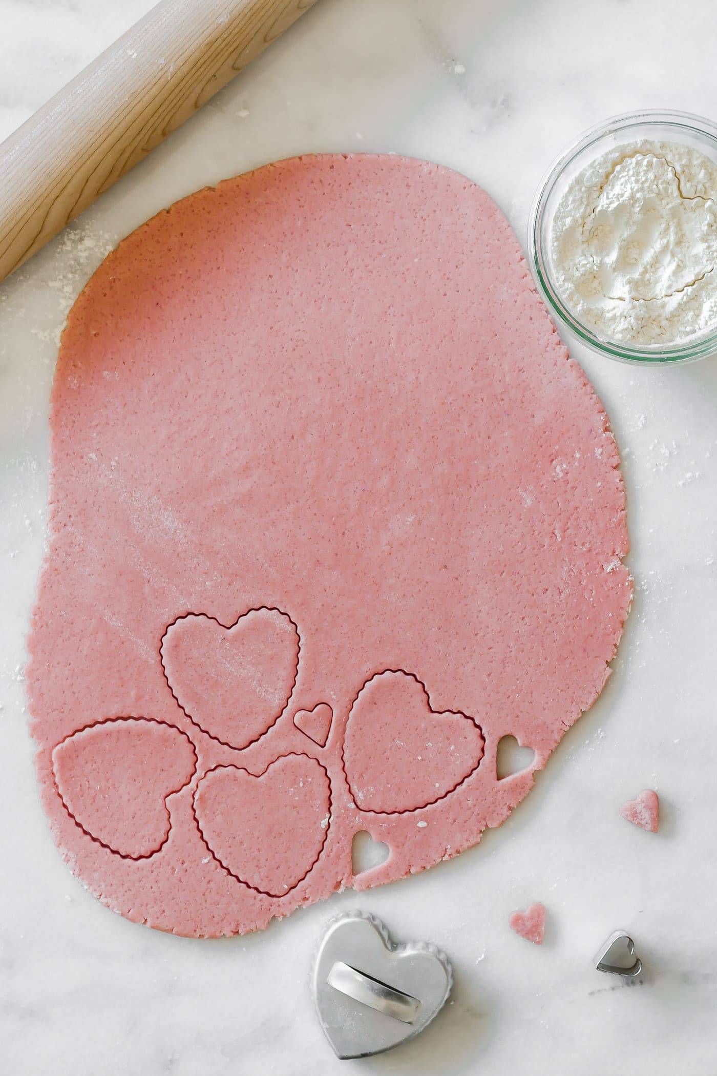 heart cookie dough cutouts