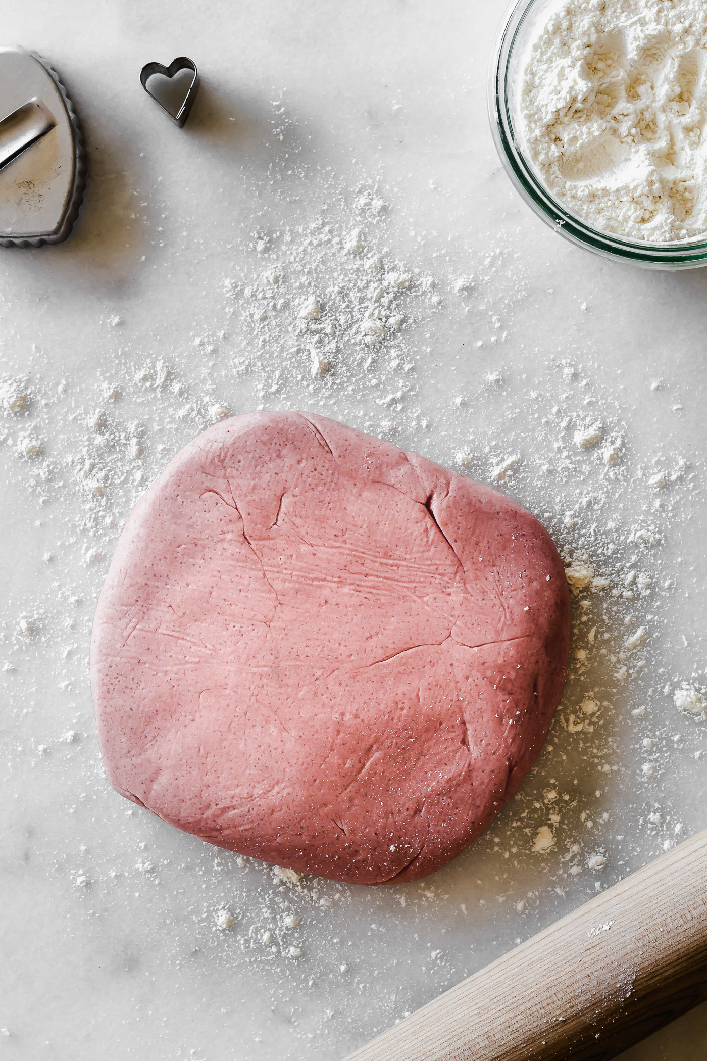 beet dyed pink cookie dough