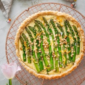 Puff Pastry Asparagus Tart on a copper cooling rack