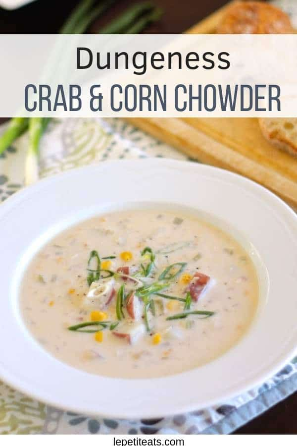 Dungeness Crab & Corn Chowder | This elegant yet comfortin chowder comes together in a flash with tons of seafood flavor thanks to the fresh, succulent, Dungeness crab #chowderrecipes, #seafoodrecipes