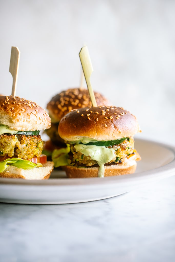 Mini Quinoa Burgers with Green Goddess Aioli