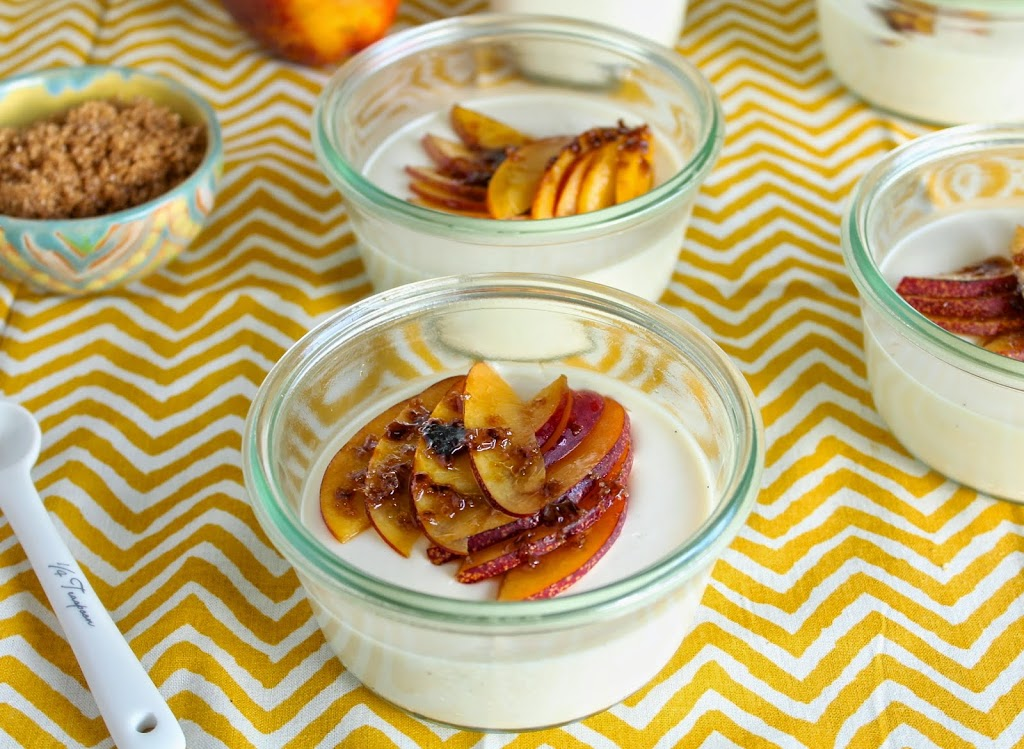 Buttermilk Panna Cotta With Bruleed Nectarines Le Petit Eats