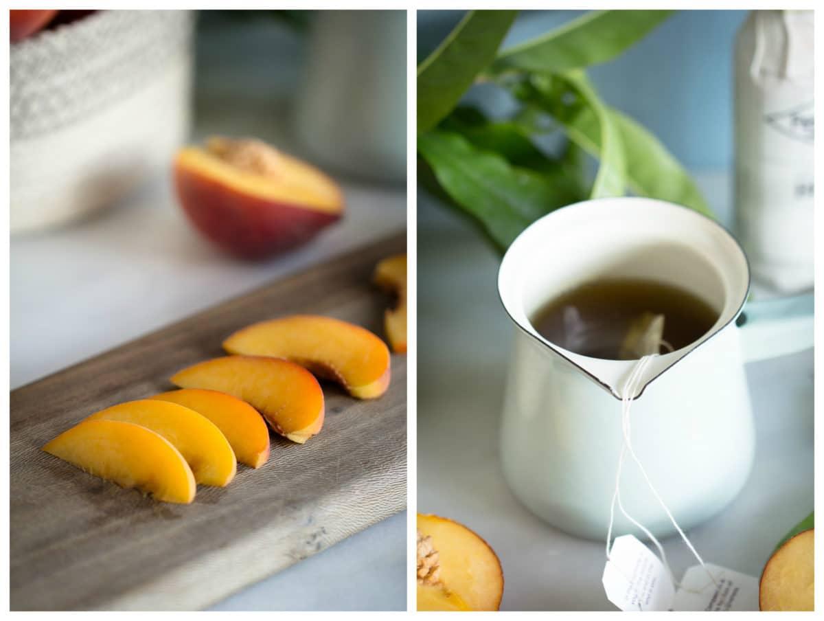 spiked iced peach green tea