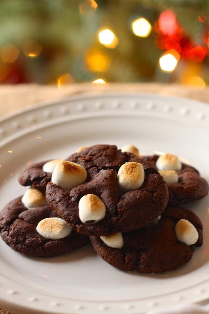 a plate of vegan cocoa crinkle cookies with mini marshmallows with a Christmas tree in the background