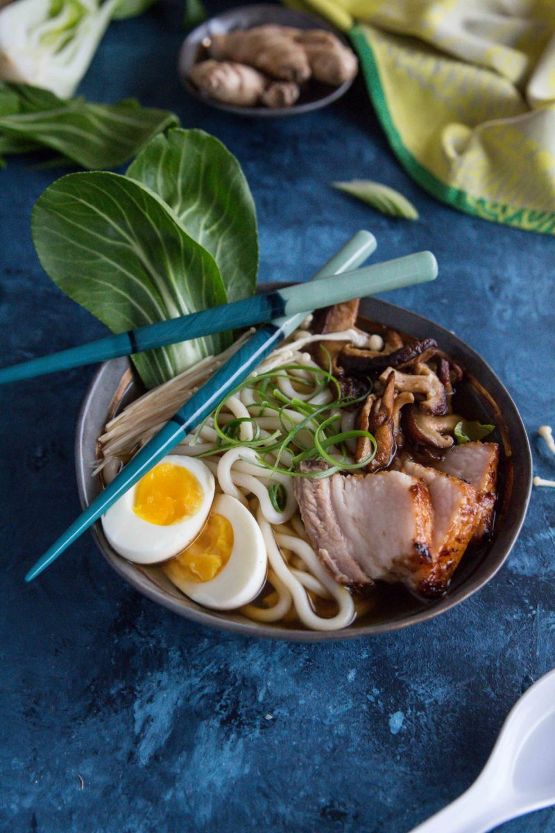 Pork Belly Udon Noodle Soup with bok choi, a hard boiled egg and mushrooms