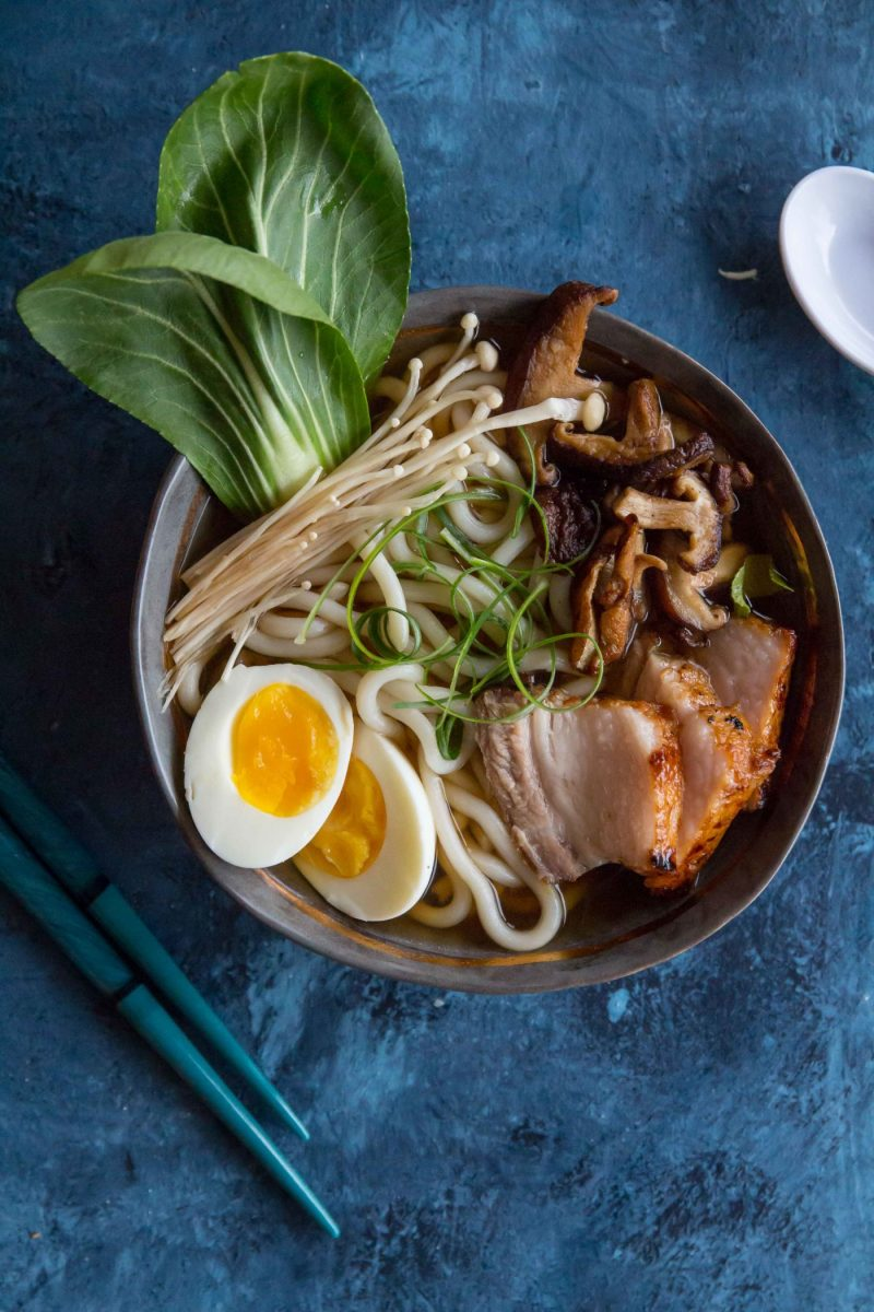 Pork Belly Udon Noodle Soup with a soft boiled egg, bok choi and fried mushrooms