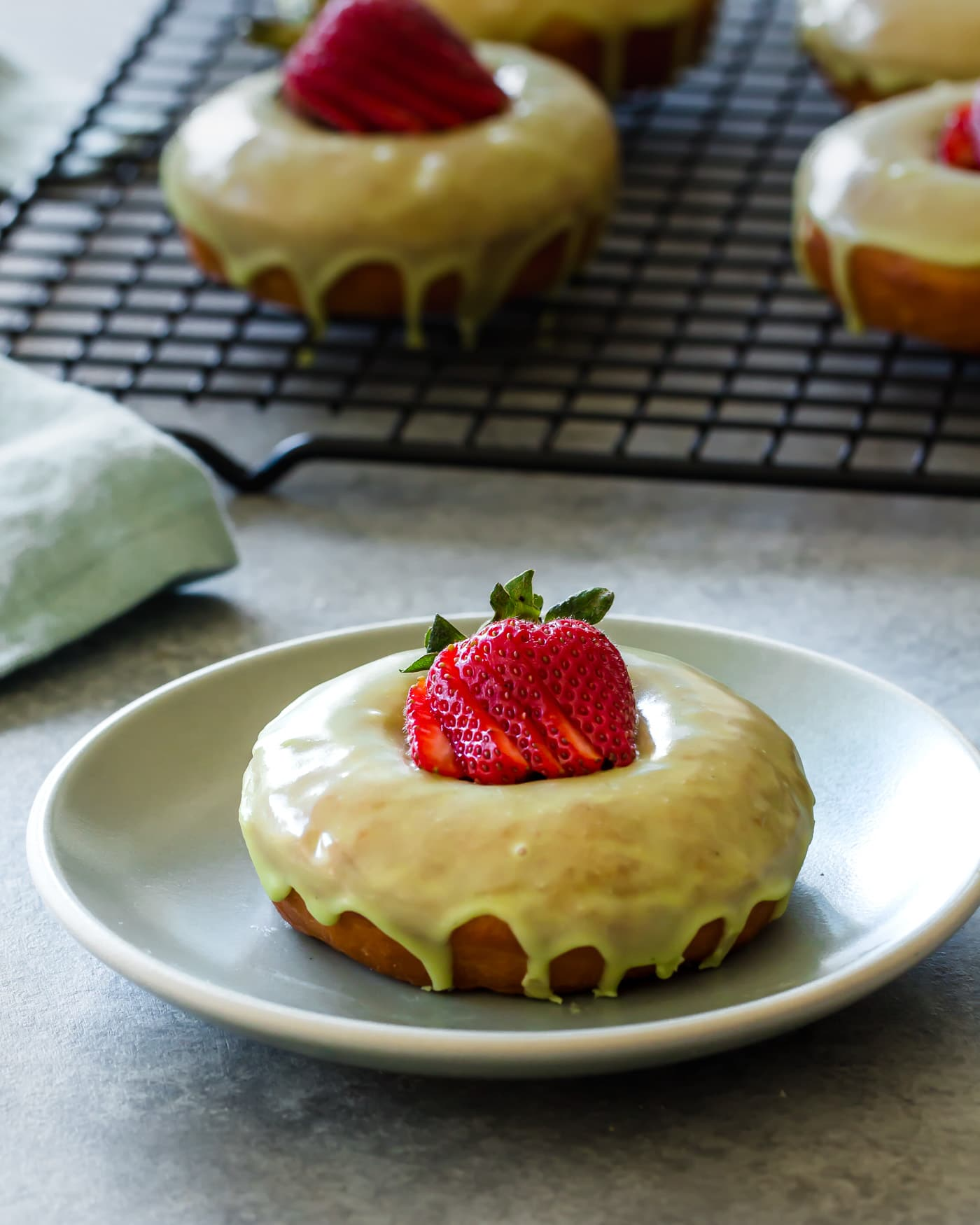 Strawberry Matcha Brioche Donuts