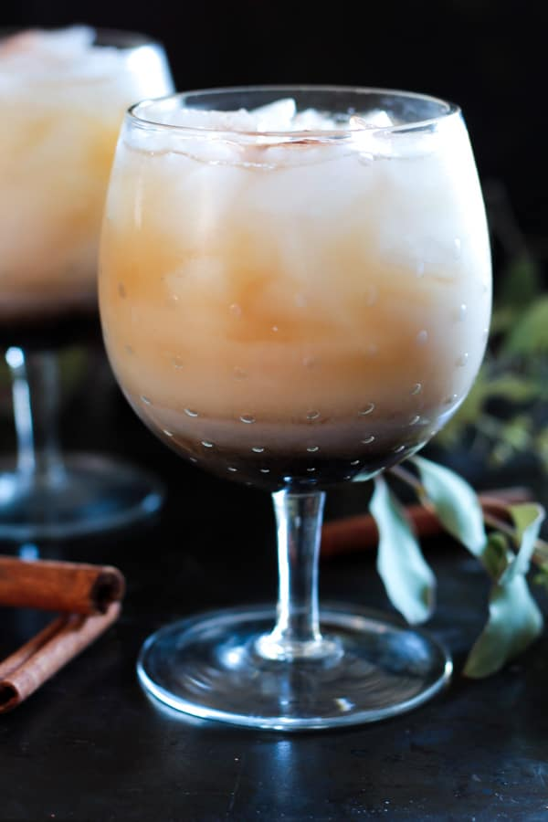 side view of a glass of Horchata White Russian