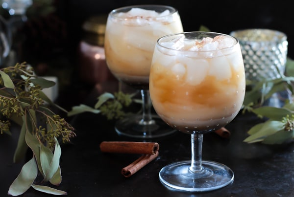 Horchata White Russian served in two cocktail glasses - White Russian Recipe