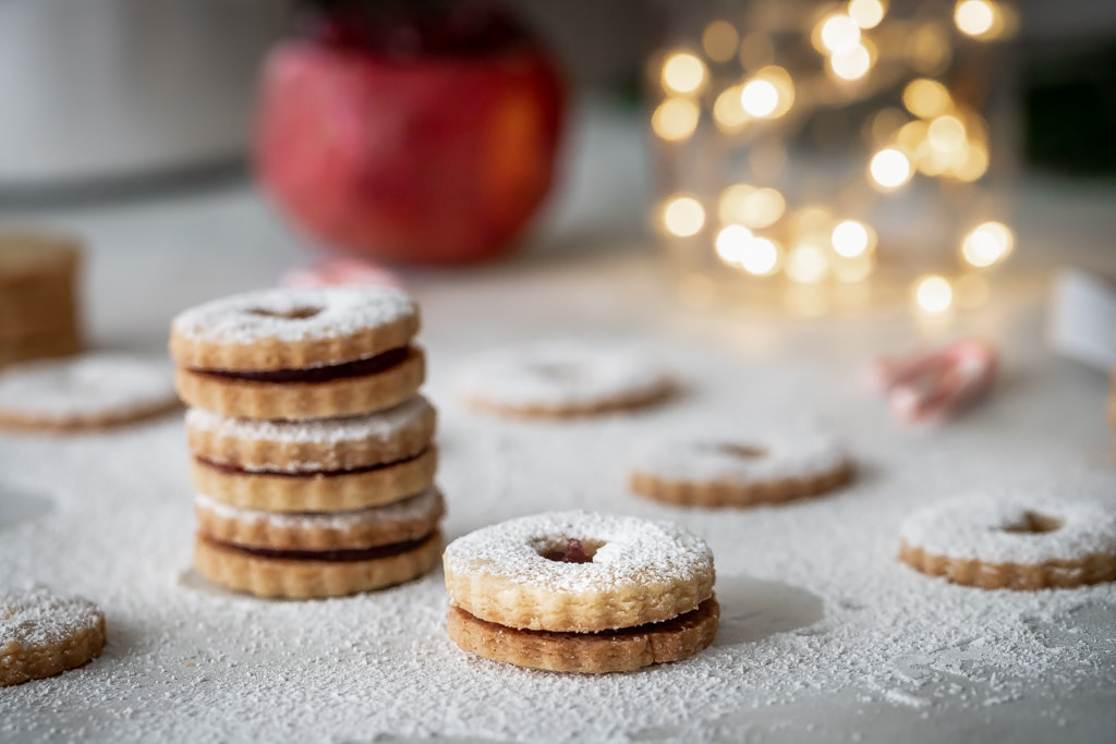 Pomegranate Linzer Cookies