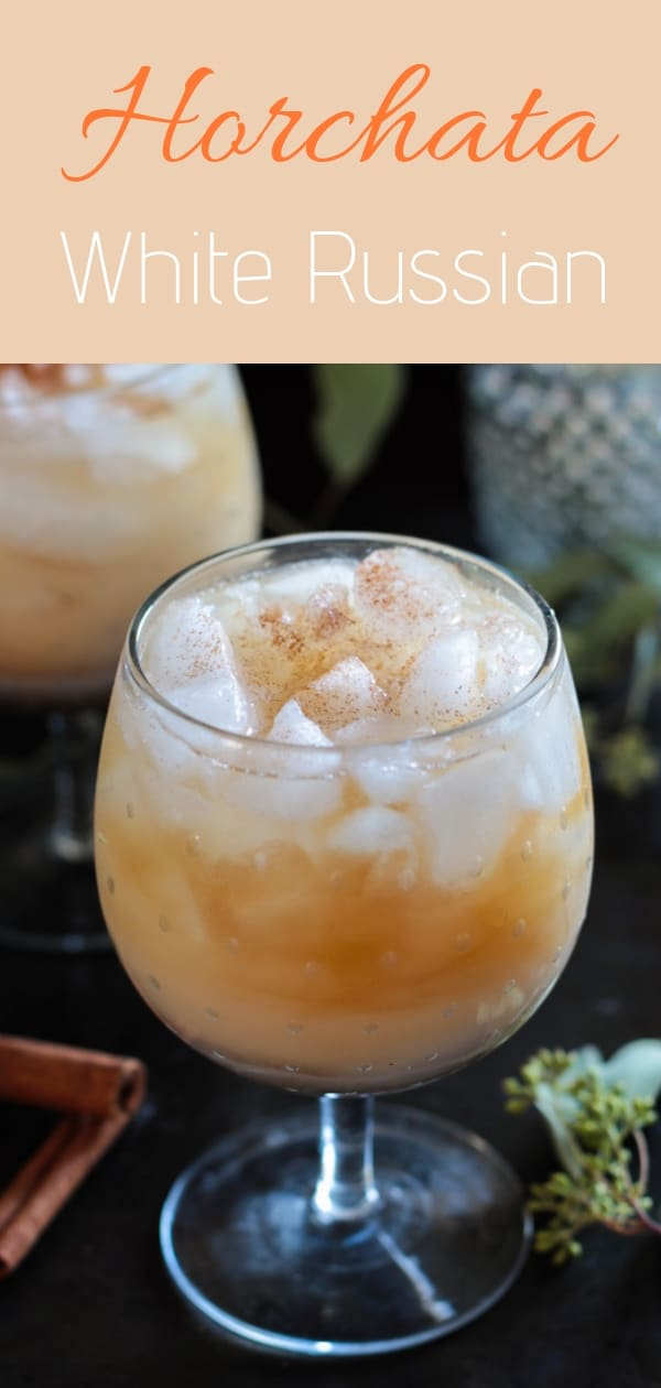 Horchata White Russian - a skinny, Latin twist on a classic coffee cocktail with homemade horchata instead of milk - the perfect drink for the holidays #whiterussian, #holidaydrinks
