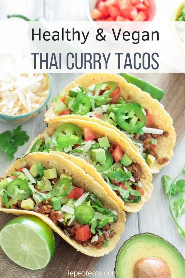 Thai Curry Tacos are vegan fusion food at it's finest, and they're fast and simple to prepare, making them supremely suitable for a quick weeknight meal! #vegan, #tacotuesday