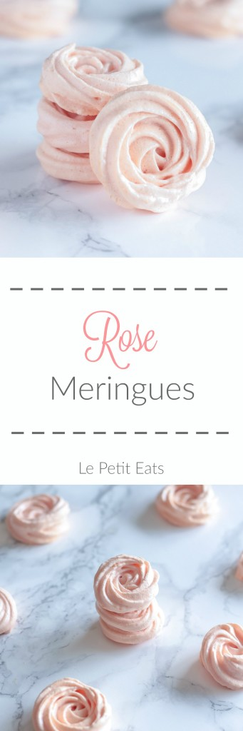 Rose Meringues - the perfect meringue swirls scented with rosewater! These make for an easy sweet gift for Valentine's Day or Christmas #dessert, #meringue
