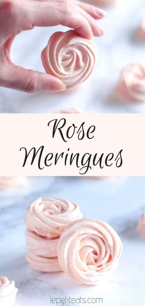 Rose Meringues - learn how to make rose-scented pink meringue roses! These are the perfect gift for the holidays or Valentine's Day but also make for a great cake decoration #meringue, #desserts