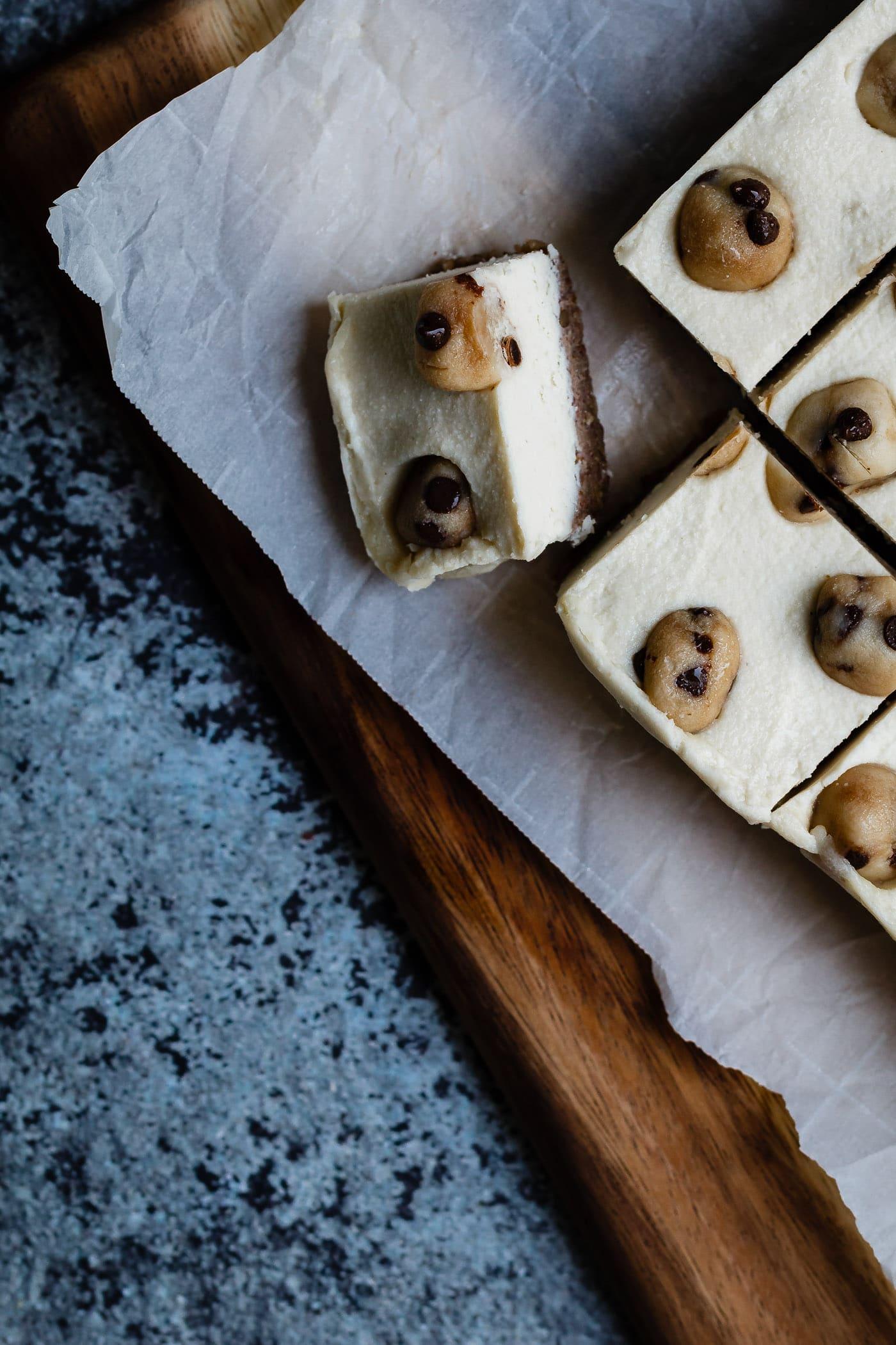 close up of Vegan Cookie Dough Cheesecake Bars