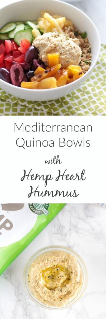 Mediterranean Quinoa Bowls with Hemp Heart Hummus