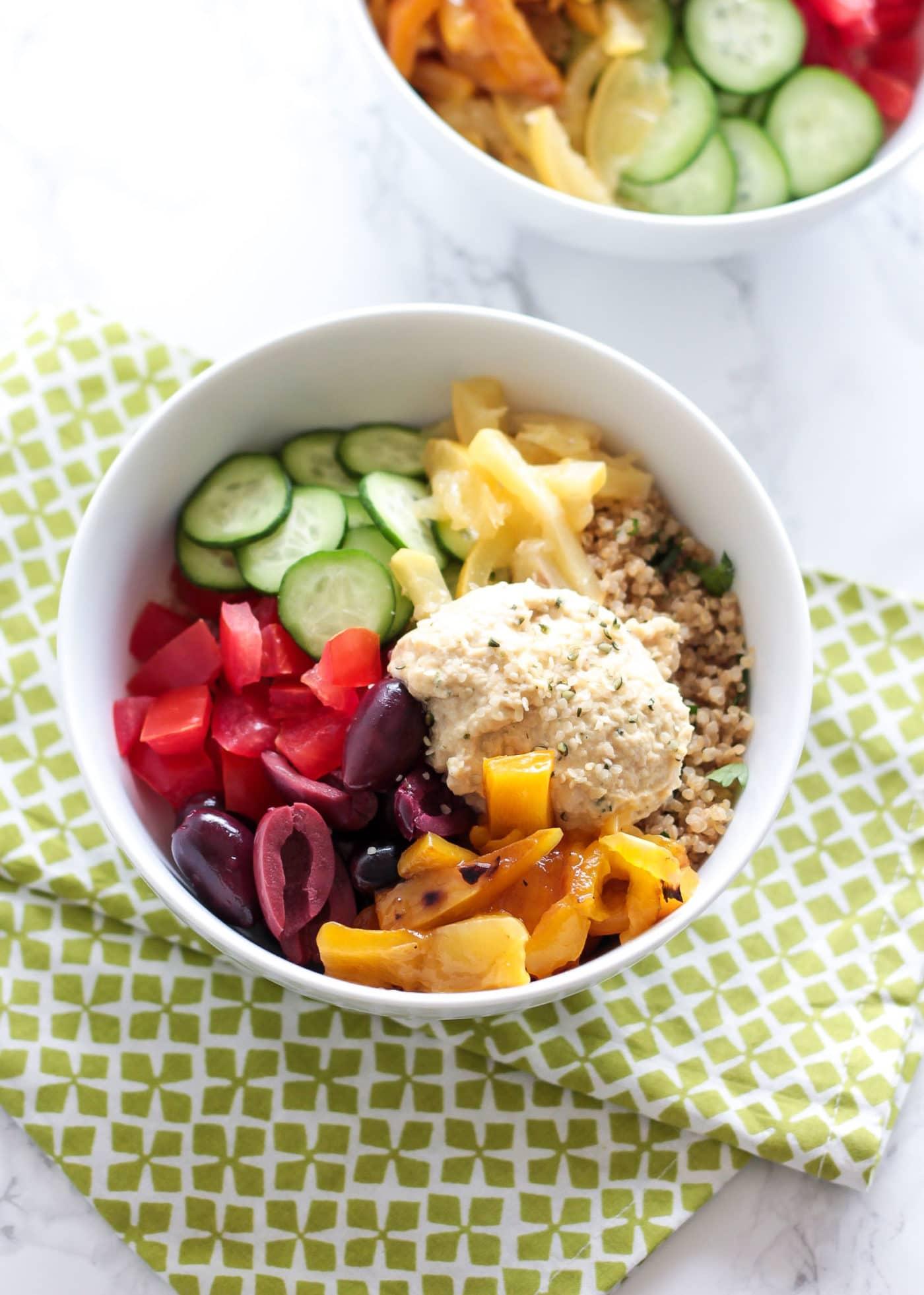 Mediterranean Quinoa Bowls With Hemp Heart Hummus Le Petit Eats