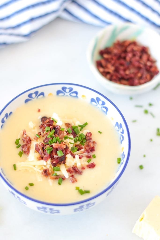 Overhead shot of a bowl of Low Carb Loaded Baked Potato Soup made with cauliflower