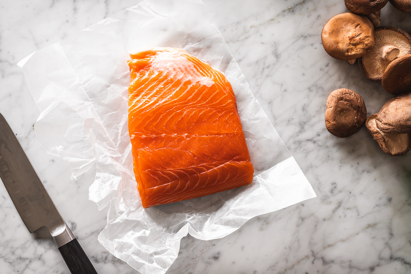 salmon filet on parchment