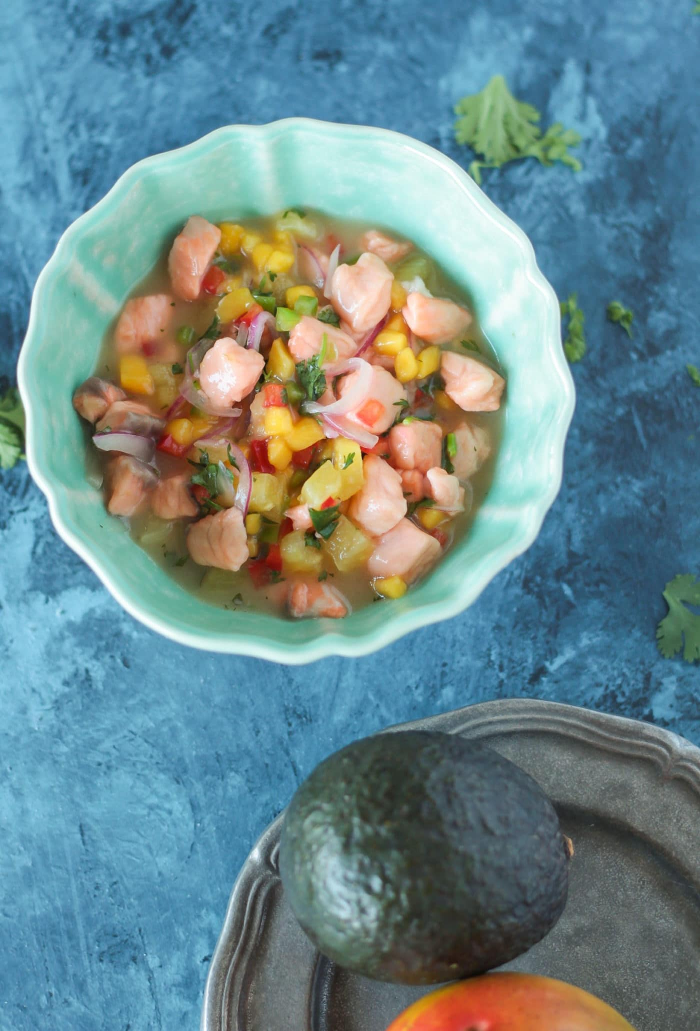 Tropical Salmon Ceviche Stuffed Grilled Avocado - Le Petit ...