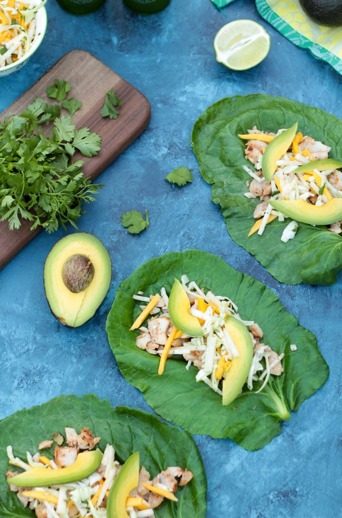 overhead shot of Healthy Collard Green Grilled Fish Tacos with jicama and mango