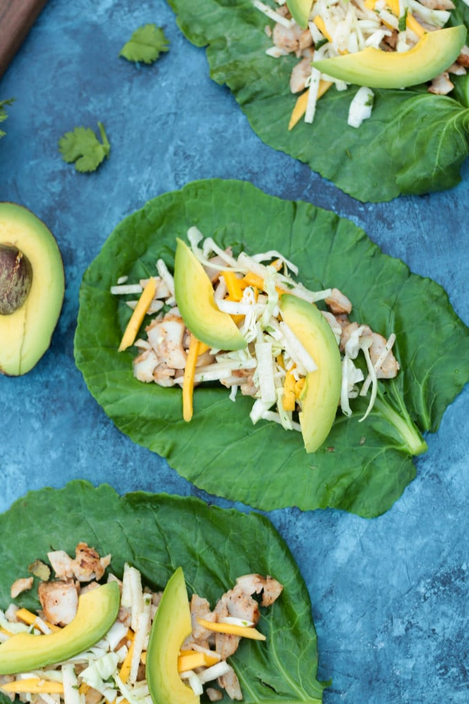 overhead shot of healthy Low Carb Collard Green Grilled Fish Tacos