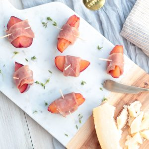 Prosciutto Wrapped Poached Plums