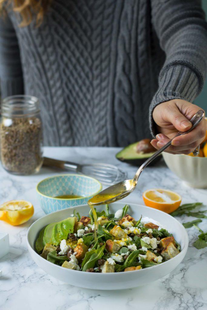 Lentil Arugula Salad with Meyer Lemon Vinaigrette