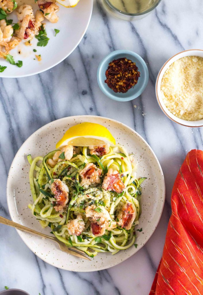 Lobster Scampi with Zucchini Noodles - Le Petit Eats