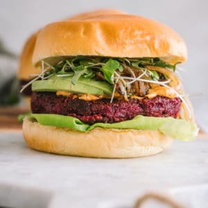 Beet Chickpea Burger on a marble board
