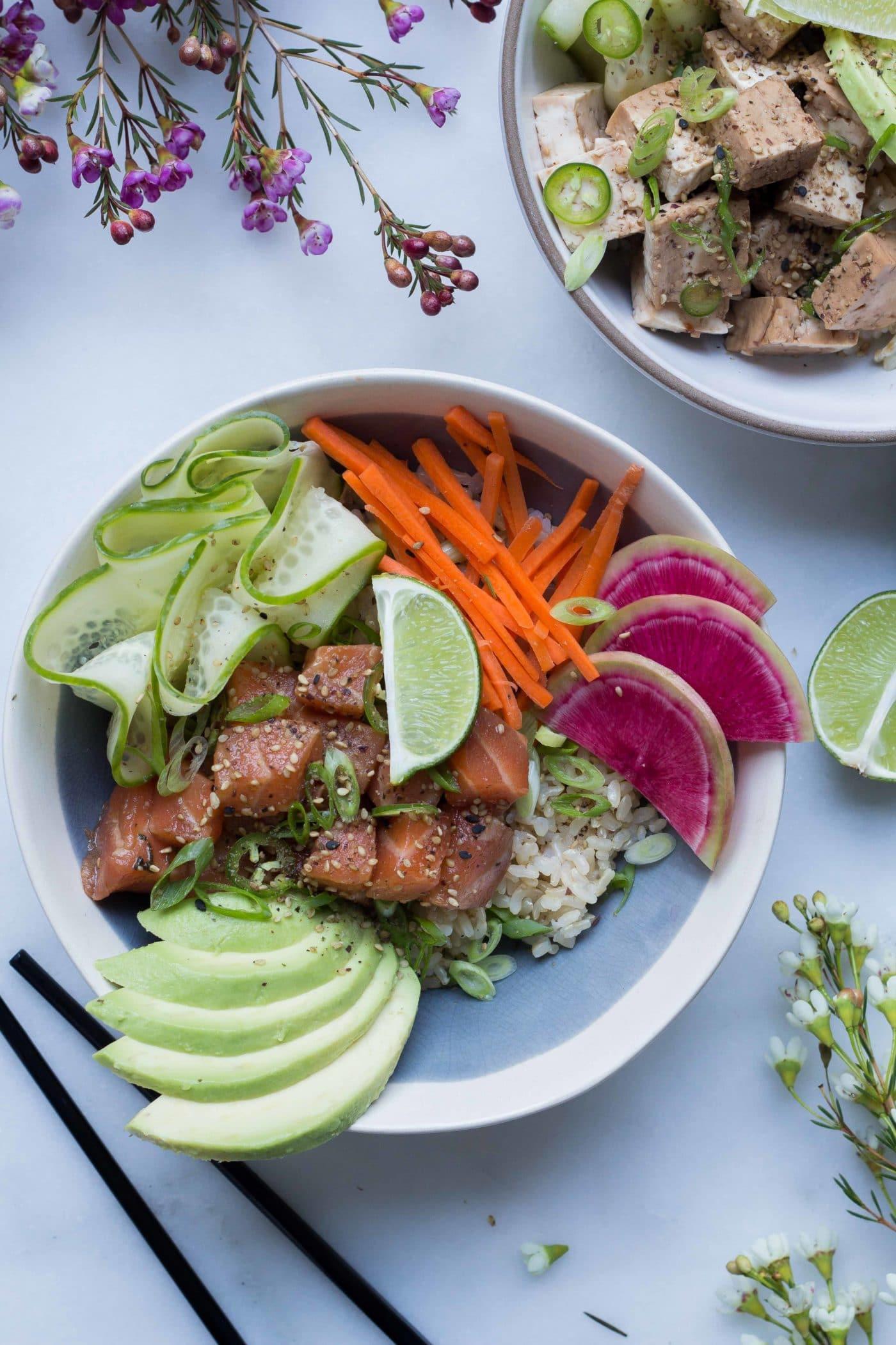 Salmon Poke Bowls Easy Vegan Option Le Petit Eats