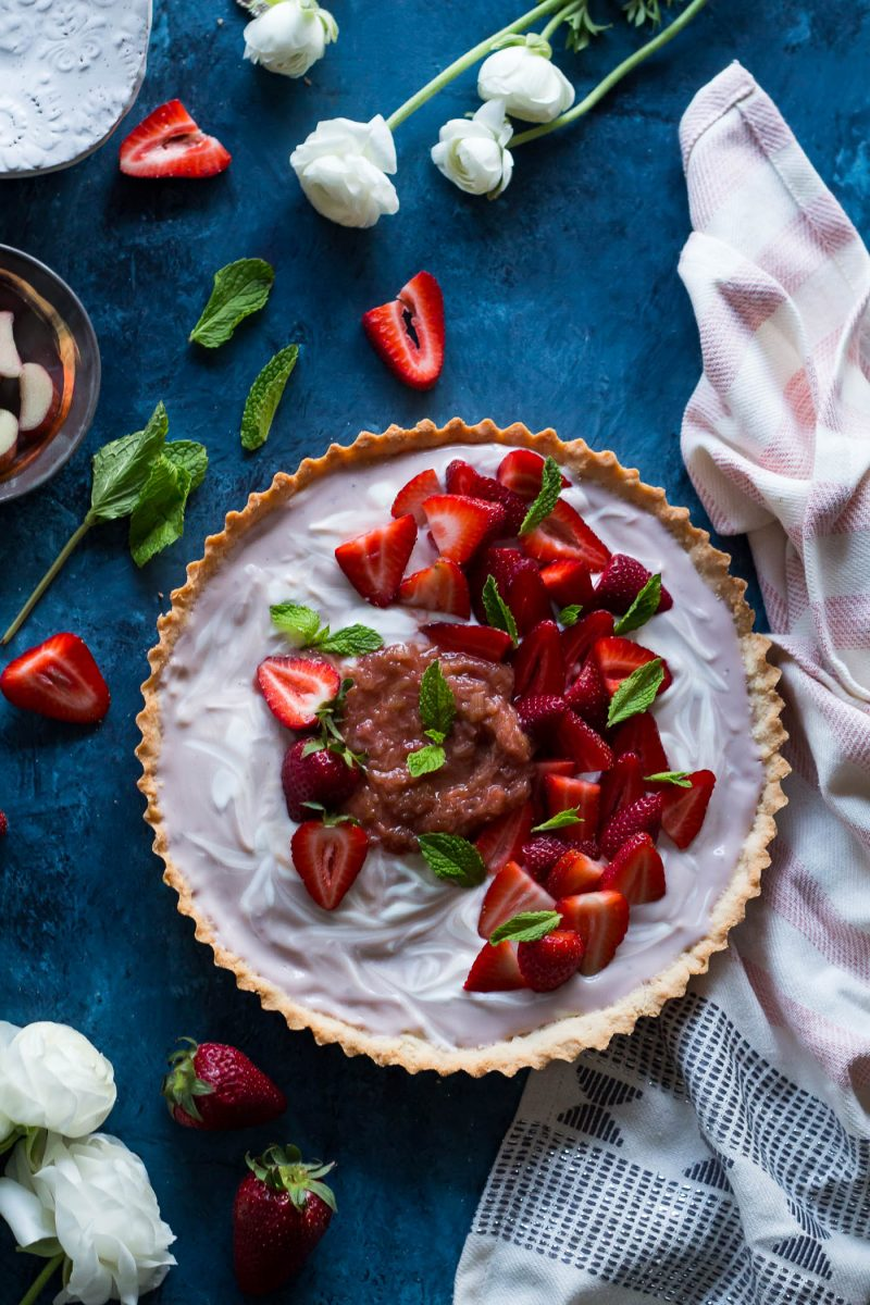 Dairy-free Strawberry Vanilla Yogurt Tart with Rhubarb Compote