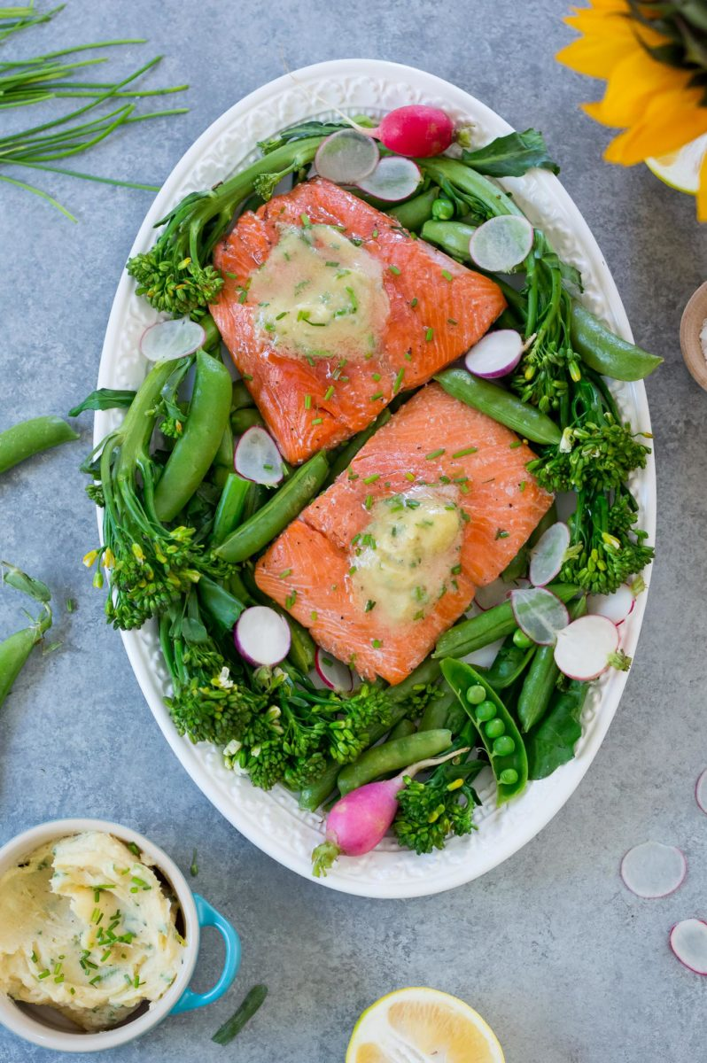 Roasted Salmon with Miso Chive Butter
