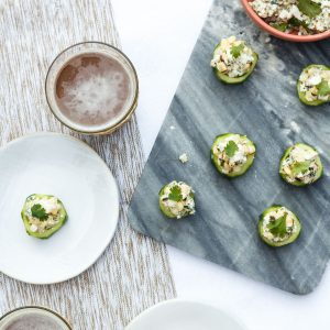 Mexican Street Corn Salad in Cucumber Cups