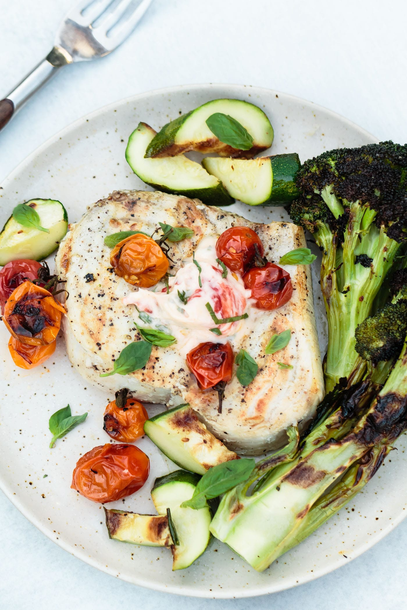 Grilled Swordfish with Charred Tomato Basil Butter