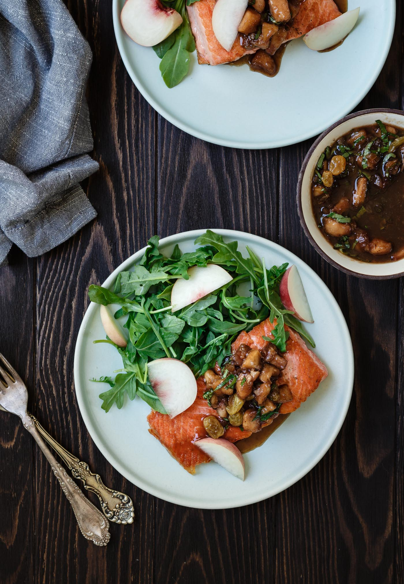 Salmon with Peach Basil Chutney