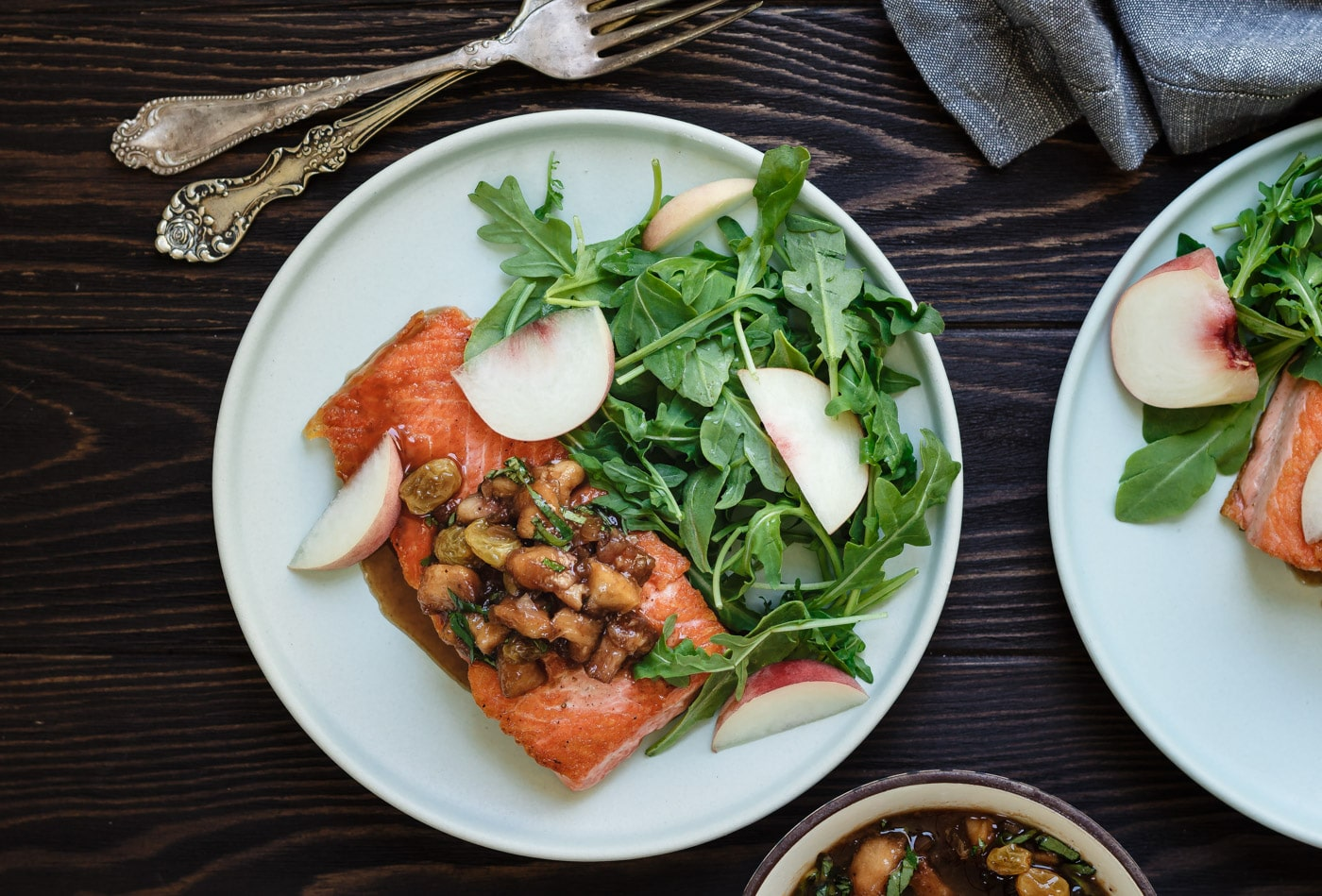 Salmon with Peach Basil Chutney