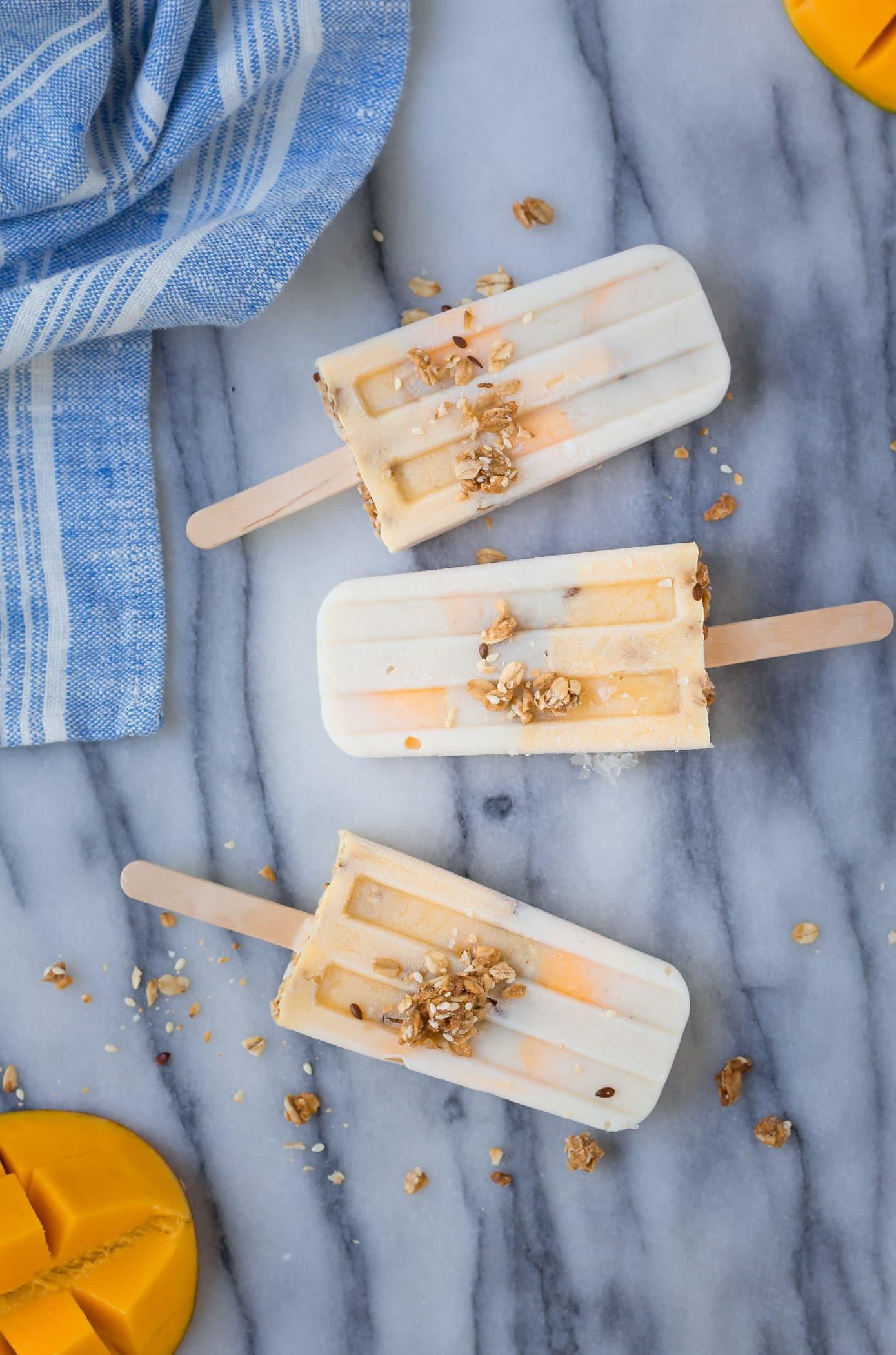 Vanilla Mango Breakfast Popsicles