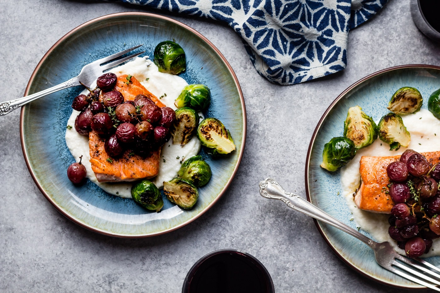 Salmon with Roasted Grapes and Thyme