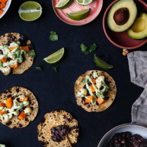 Sweet Potato Black Bean Cauliflower Tacos
