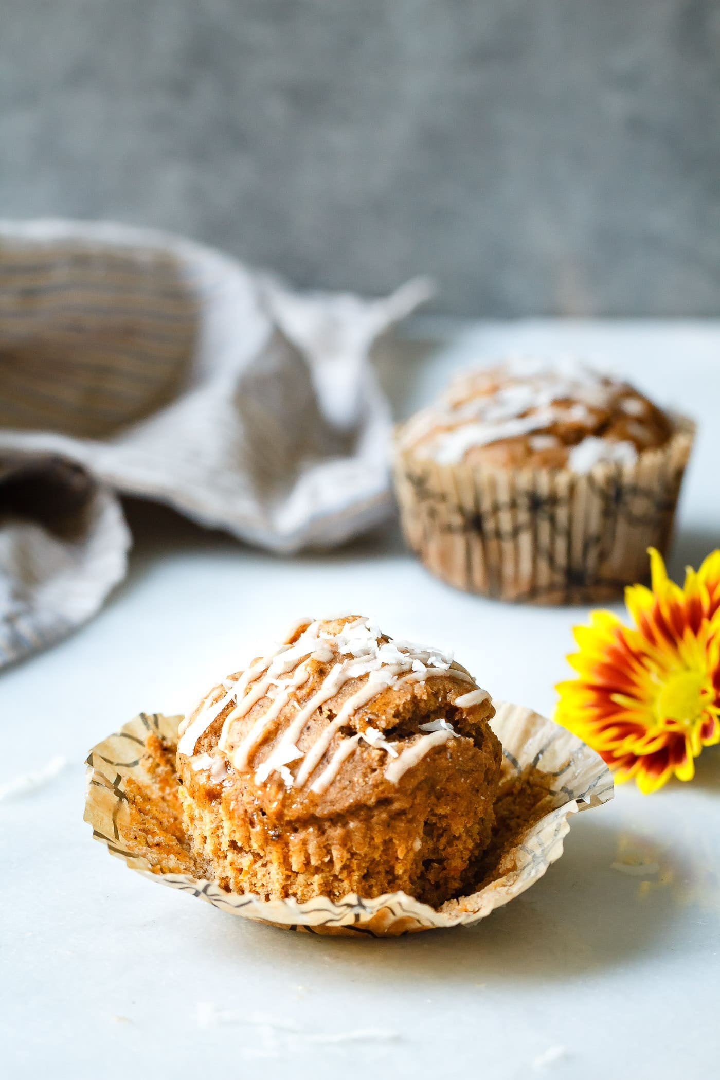 Sweet Potato Coconut Chai Muffins unwrapped