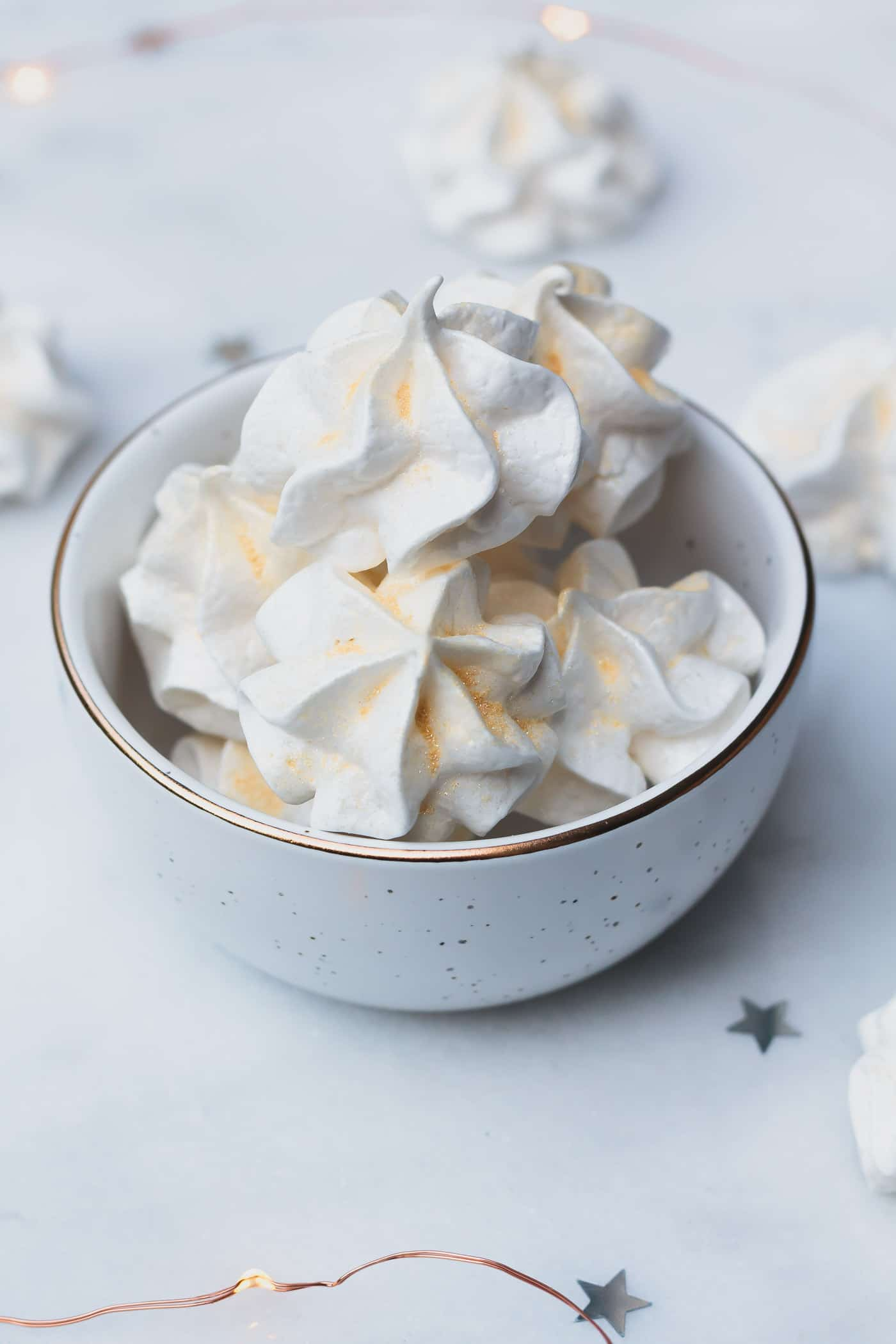 Champagne Meringues in a bowl