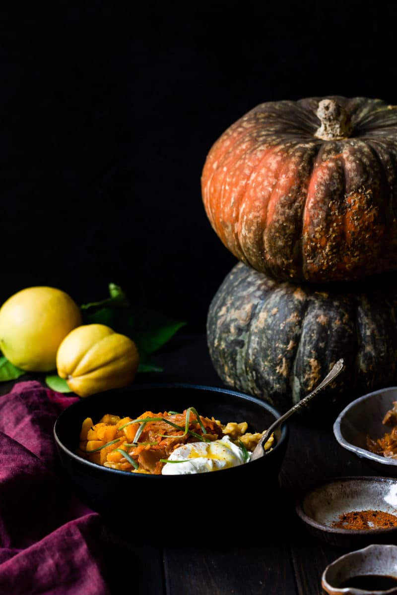 Kabocha Squash Risotto straight on with whole squash in background