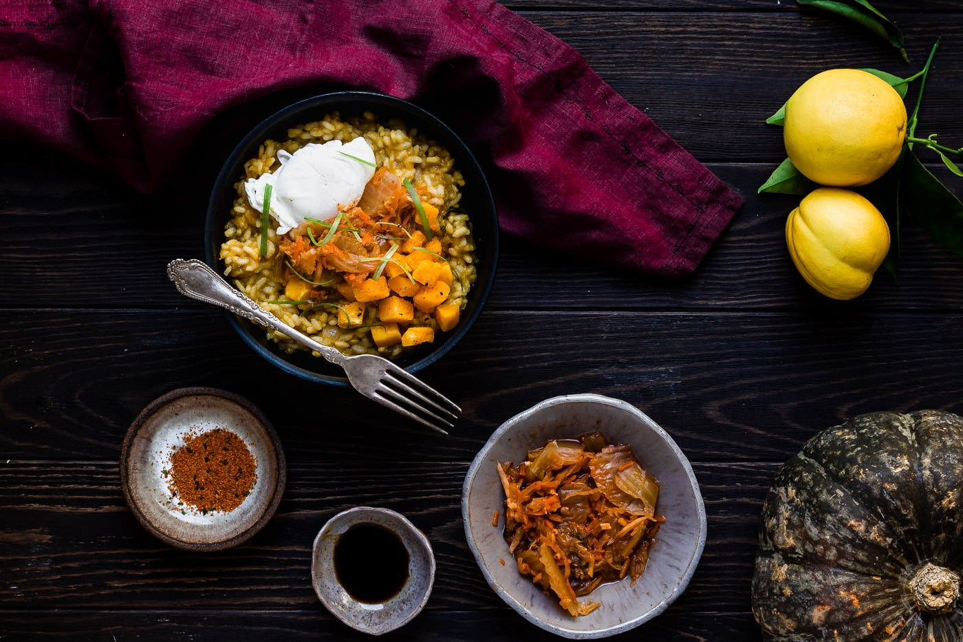 Kabocha Squash Risotto with egg and toppings