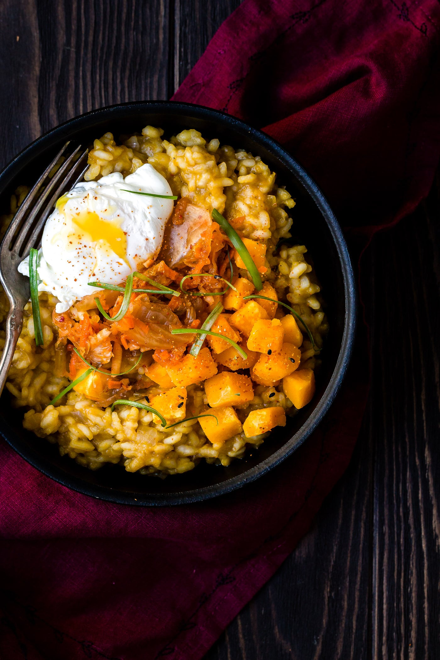 Kabocha Squash Risotto with pierced egg