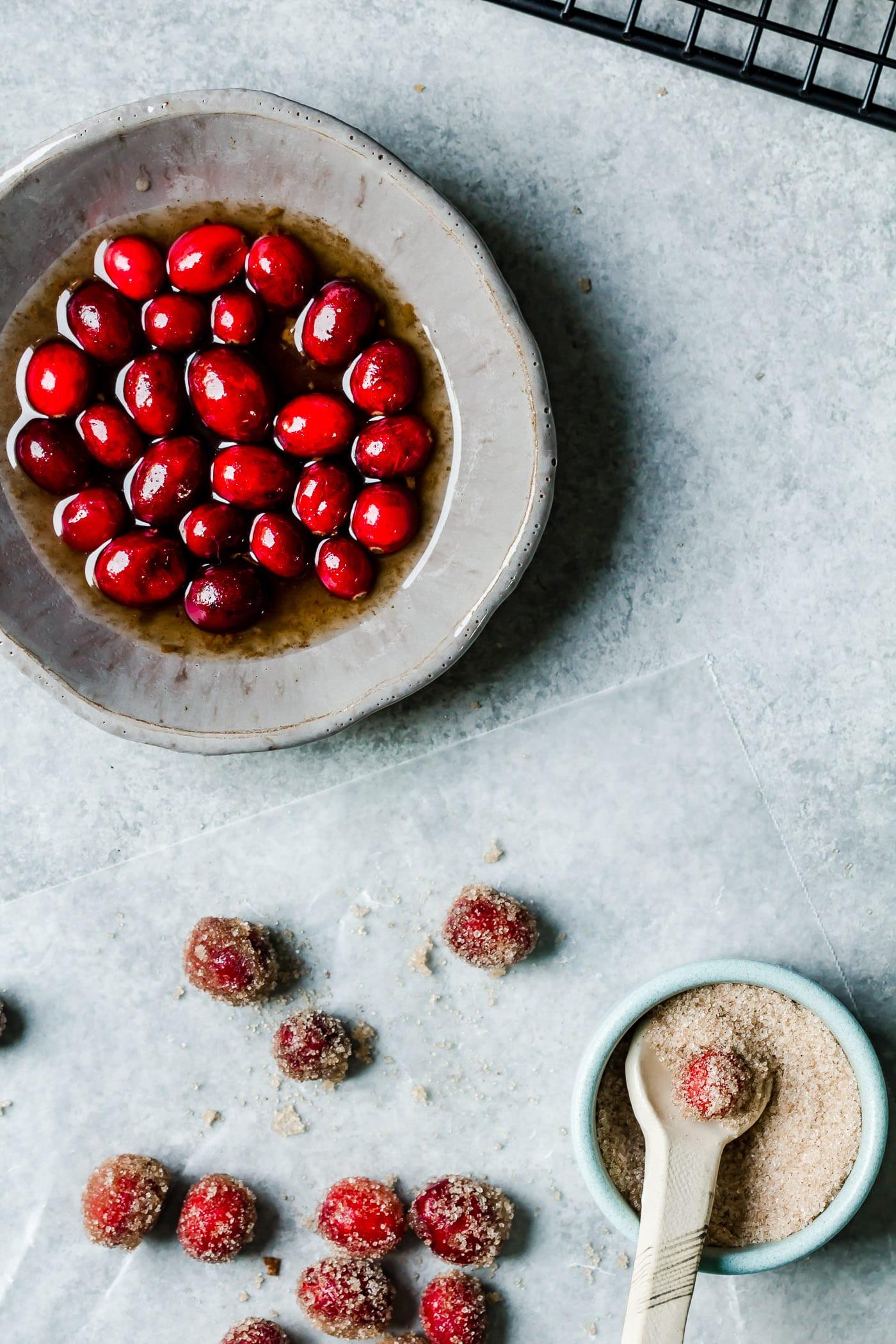Cinnamon sugared cranberry close up