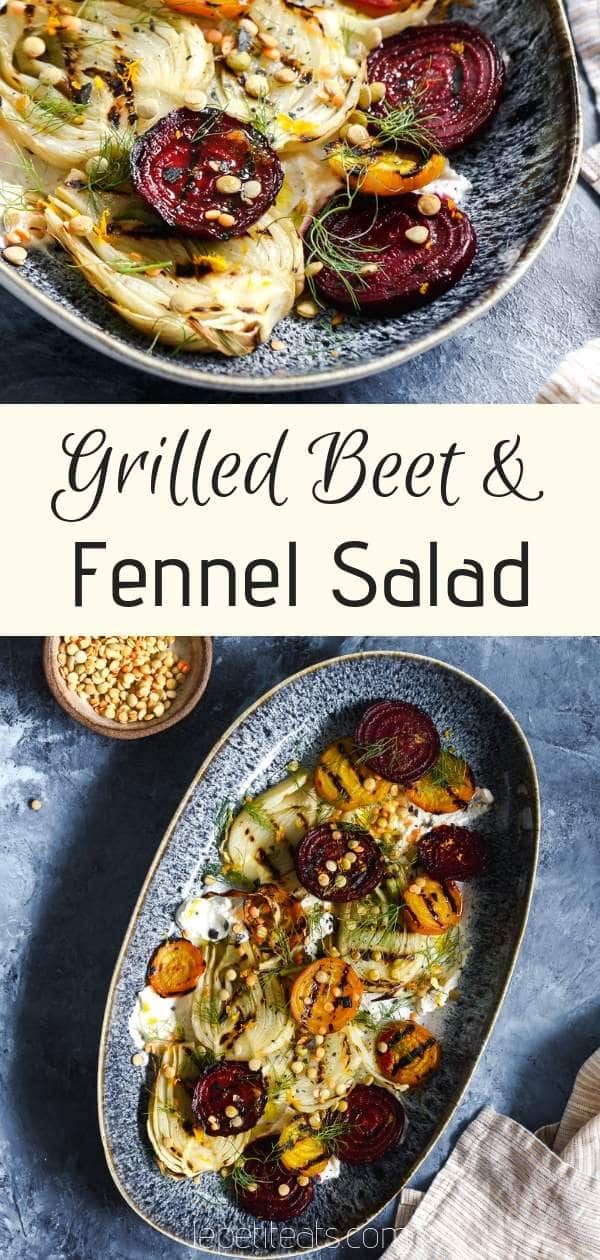 Grilled Beet and Fennel Salad | This hearty and flavorful vegan salad with sprouted lentils is accented with plant-based orange and cumin scented coconut yogurt. A healthy vegan side dish for any winter meal #vegan, #healthy