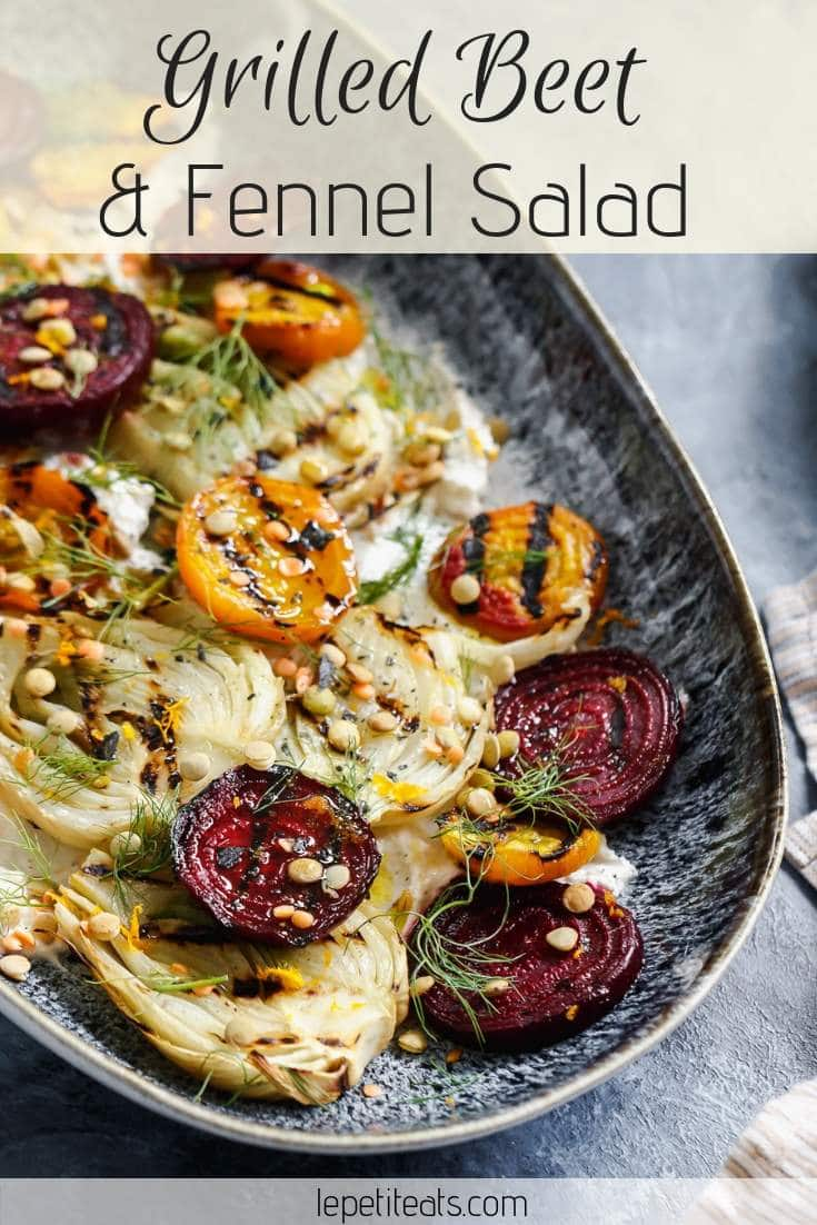 Grilled Beet and Fennel Salad | This hearty and flavorful grilled beet and fennel salad with sprouted lentils is accented with a schmear of plant-based orange and cumin scented yogurt. #side, #healthy
