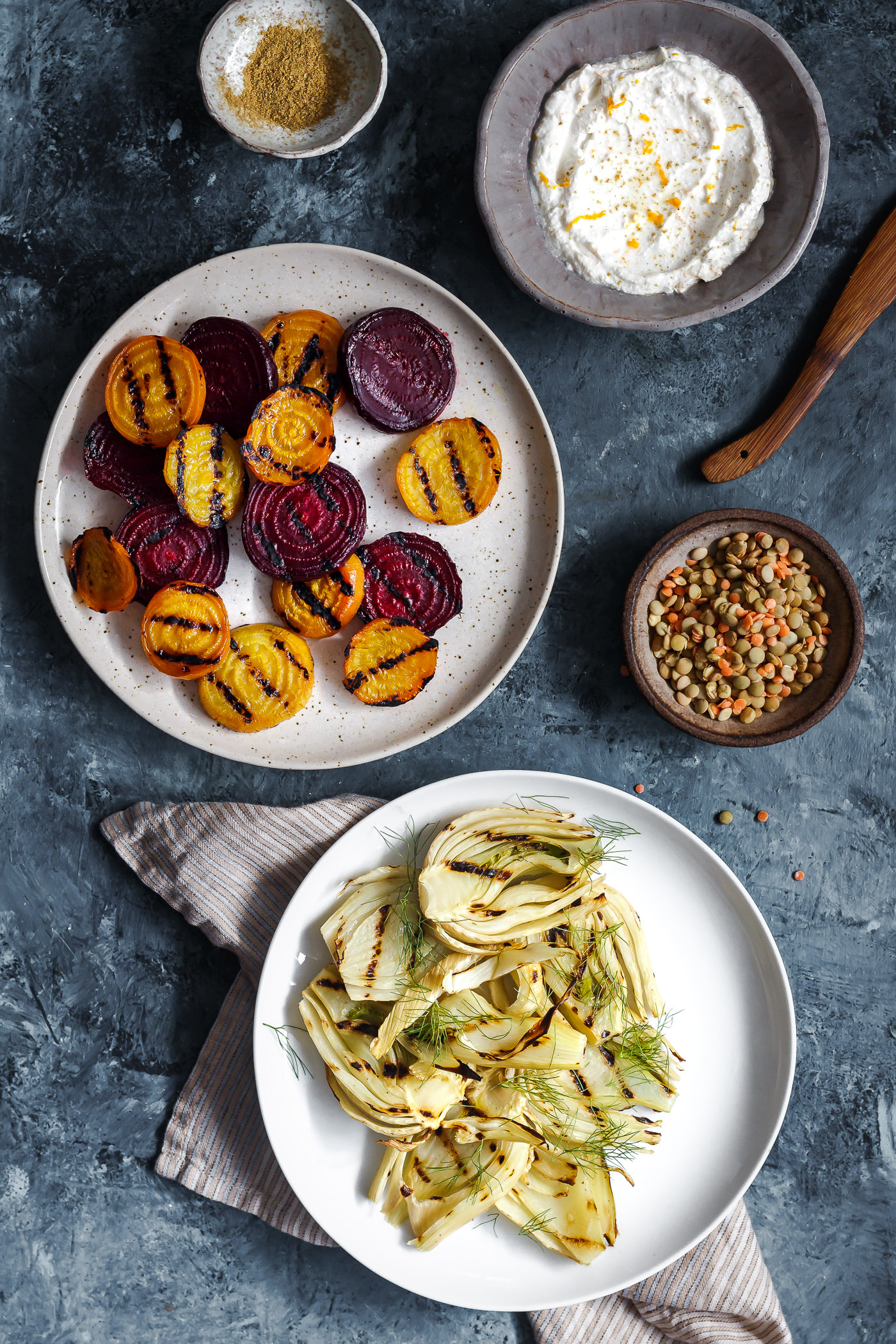 Grilled beets and fennel